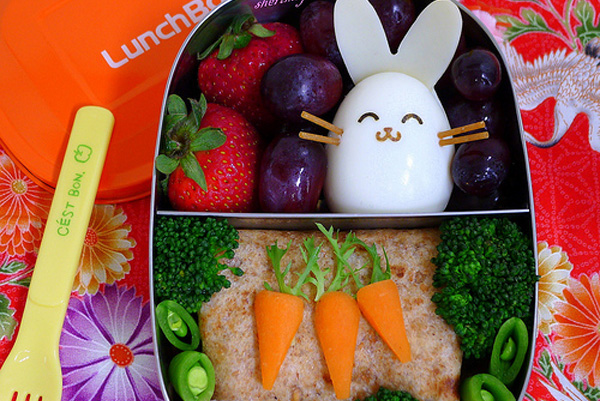 Easter bunny bento box lunch for kids by Happy Little Bento