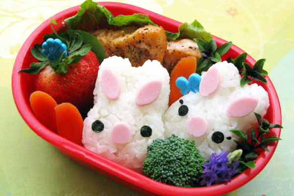 Easter bunny bento box lunch for kids by Hawaii's Bento Box Cookbook