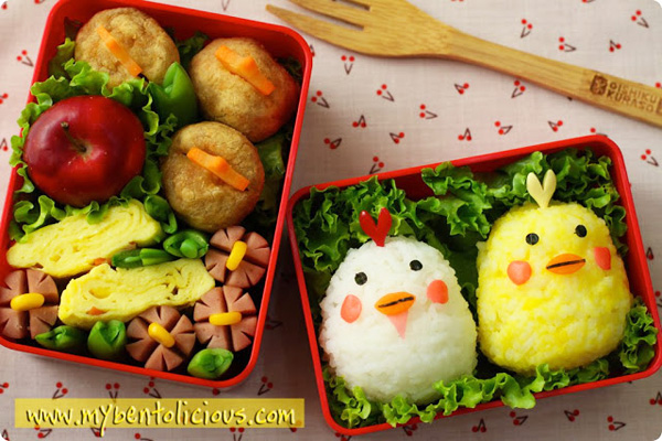 Spring chicks bento box lunch for kids by Bentolicious