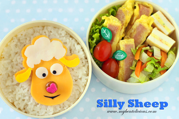 Spring sheep bento box lunch for kids by Bentolicious
