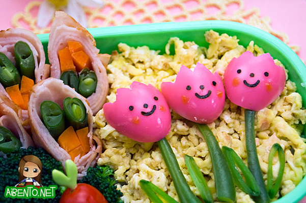 Spring flowers bento box lunch for kids by Adventures in Bentomaking