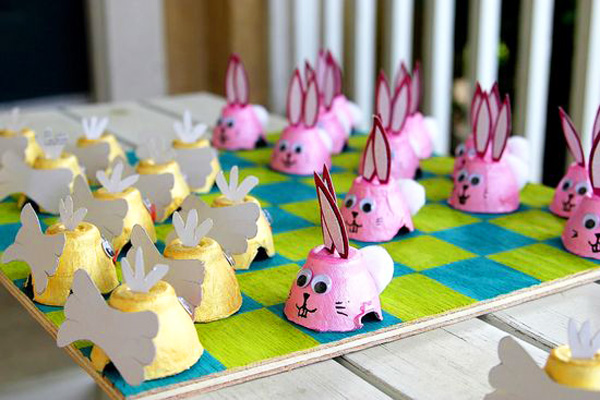 Homemade Easter checkers board for kids by Create, Celebrate, Explore