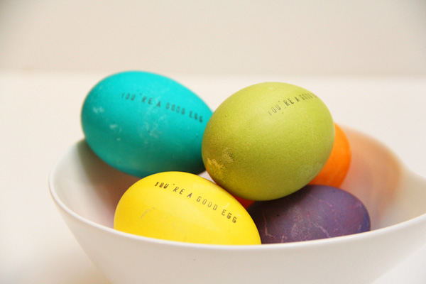 Hand-stamped Easter eggs for kids by Lovely Indeed