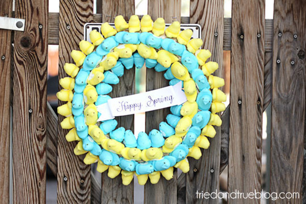 Easter wreath made with Peeps by Tried & True