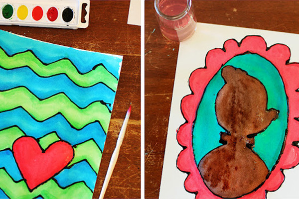 Homemade watercolor glue art for kids by Eighteen25