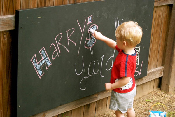 Homemade outdoor chalkboard for kids by Okay, BA!