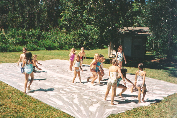 homemade slip and slide for kids by the inspired housewife - Backyard Space Ideas