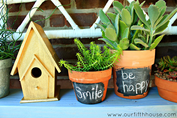 DIY chalkboard plant pots by Our Fifth House
