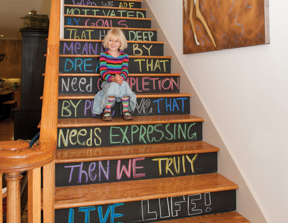 DIY chalkboard staircase by Houston Lifestyles & Homes
