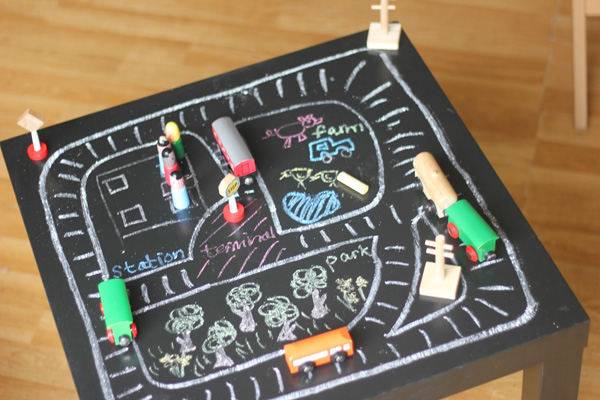 DIY chalkboard play table for kids by The Imagination Tree