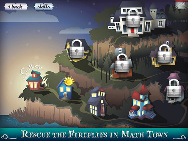Mystery Math Town educational app for kids