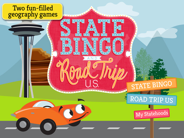 State Bingo and Roadtrip USA educational app for kids