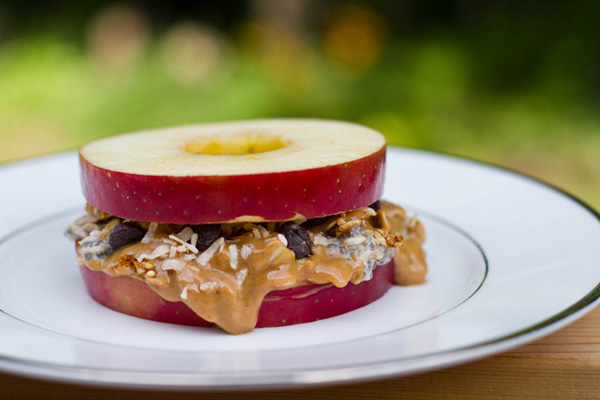 Healthy snack idea for kids: Apple sandwich by Oh She Glows