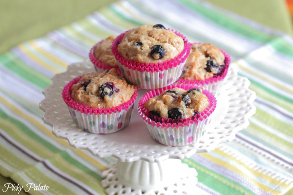 Healthy snack idea for kids: Peanut butter and jelly blueberry banana muffins by Picky Palate