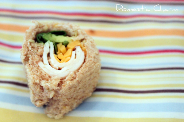Healthy snack idea for kids: Sandwich sushi for kids by Domestic Charm