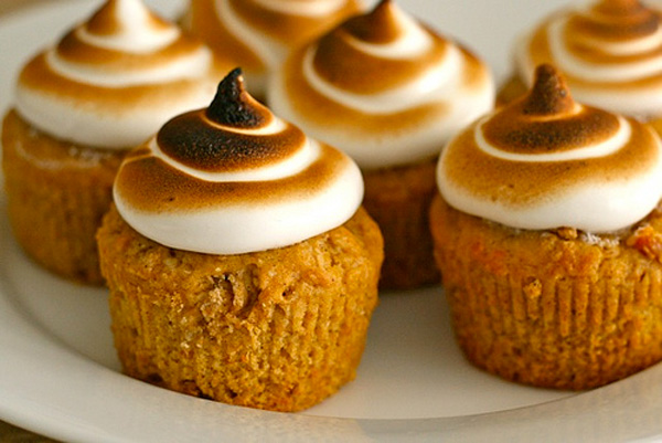 Thanksgiving sweet potato cupcakes with toasted marshmallow frosting by Annie's Eats