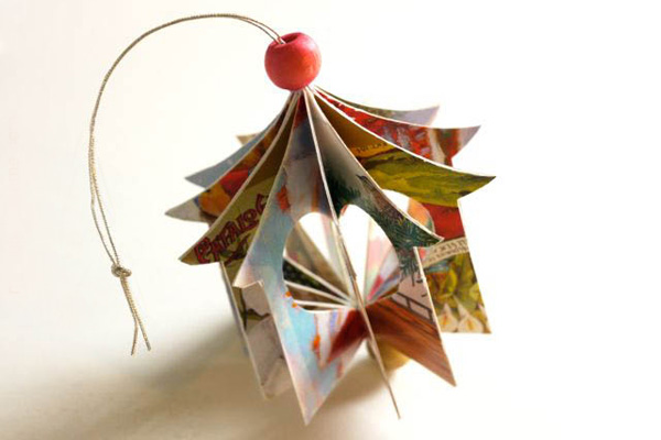 Homemade paper Christmas ornaments by Michelle Made Me