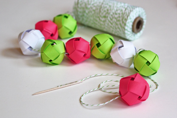 affordable homemade christmas woven ball garland by how about orange with easy homemade christmas decorations - Paper Christmas Decorations To Make At Home