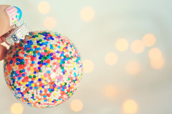 Homemade sprinkle Christmas ornaments by Little Gray Fox