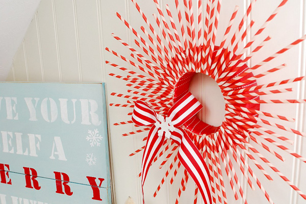 Homemade Christmas Striped Paper Straw Wreath By Tater Tots And Jello