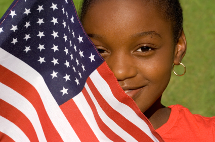 American girl with flag