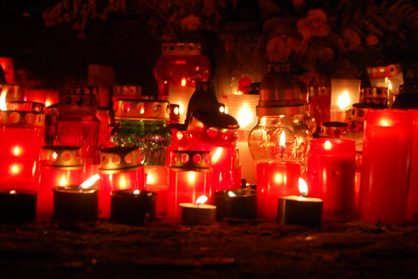 Finland Candles on Gravesite