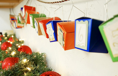 Homemade Christmas Chinese takeout box advent calendar by Sarah Sermons
