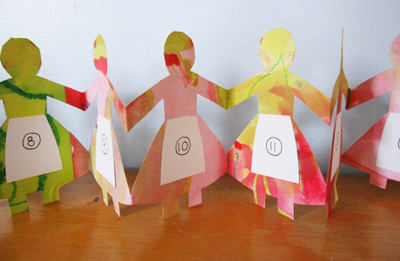 Homemade Christmas paper doll chain advent calendar by The Artful Parent