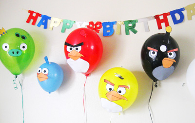 Angry Birds birthday balloons by The Brown Eyes Have it