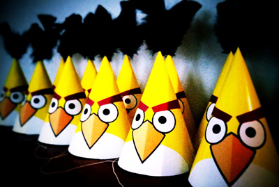 Angry Birds birthday party hats by The Contemplative Creative Project