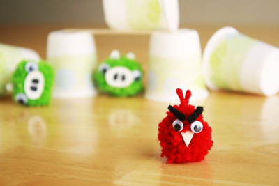 Angry Birds pom pom craft by Make and Takes