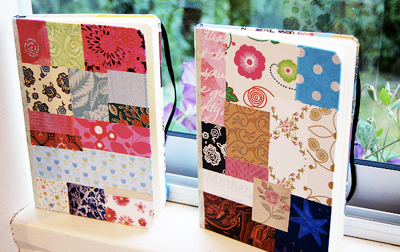Christmas homemade patchwork journals by iHannah's Blog