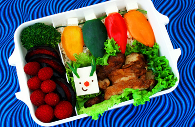 Christmas lights and rudolph bento box lunch by Happy Little Bento