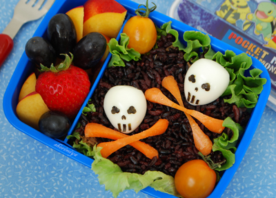 Halloween skull bento box lunch by Happy Little Bento