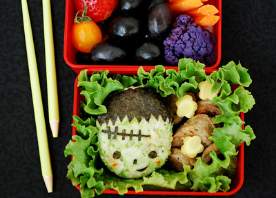 Halloween frankenstein bento box lunch by Happy Little Bento