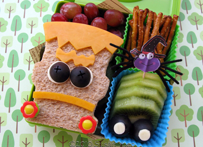 Frankenstein bento box lunch by Hawaii's Bento Box Cookbook