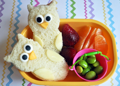 Owl bento box lunch by Crouching Mother, Hidden Toddler