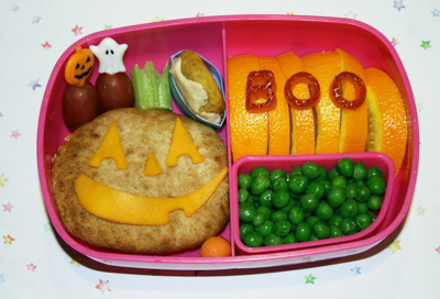 Halloween jack-o-lantern bento box lunch by Bento-logy