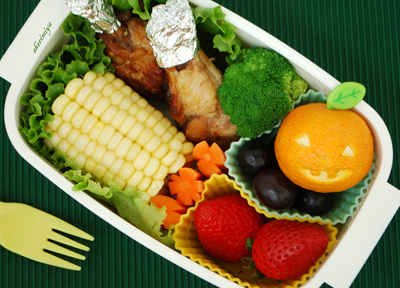 Halloween pumpkin bento box by Happy Little Bento