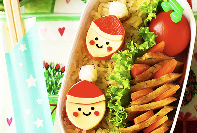 Christmas mini Santa Claus bento box lunch by Bentolicious