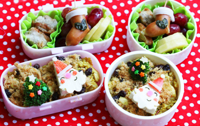 Mini Santa Claus Christmas bento box by Bento Monsters