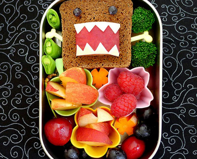 Domokun Sandwich bento box lunch by Happy Little Bento