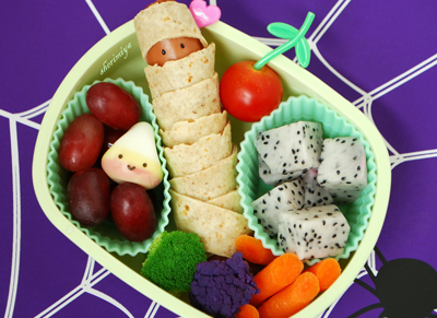 Mummy turkey dog bento box lunch by Happy Little Bento