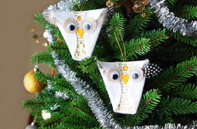 Snowy owl homemade Christmas ornaments by That Artist Woman