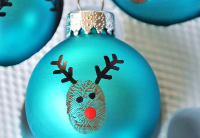 Thumbprint reindeer homemade Christmas ornaments by Little Bit Funky