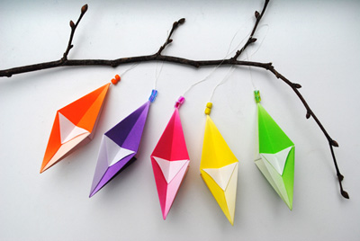 Origami homemade Christmas ornaments by Mini-Eco