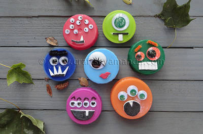 Plastic lid Halloween monsters by Crafts by Amanda