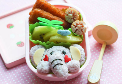 Rice elephant bento box by Bento Monsters
