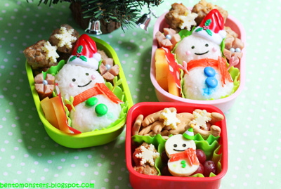 Christmas snowman family bento box lunch by Bento Monsters
