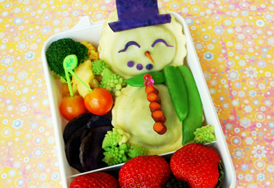 Christmas snowman bento box lunch by Happy Little Bento